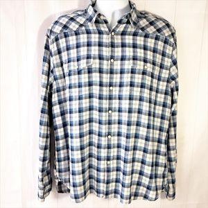 Lucky Brand Men Sz L Blue Shirt Pearl Snap Western